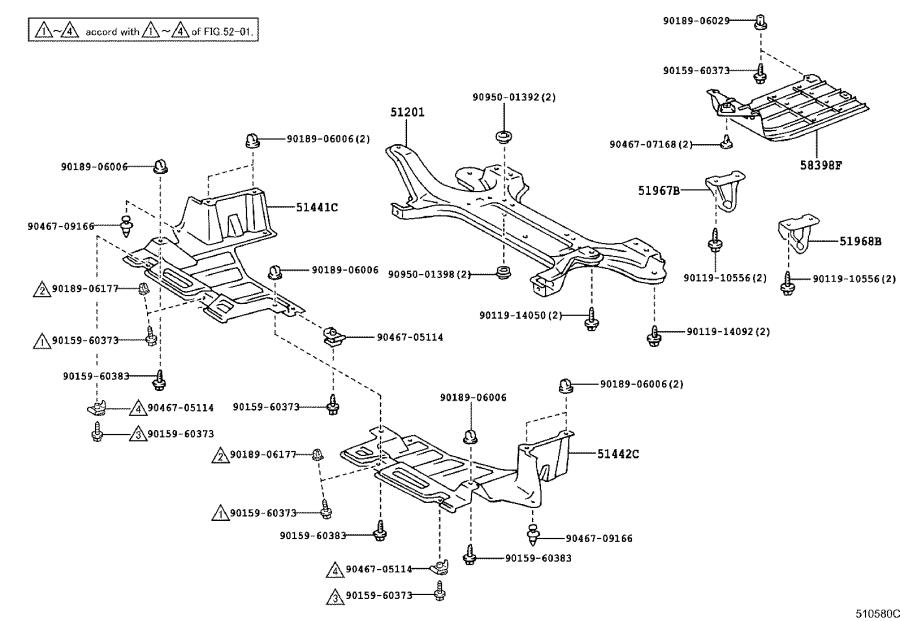 Diagram SUSPENSION CROSSMEMBER & UNDER COVER for your 2004 Toyota Camry