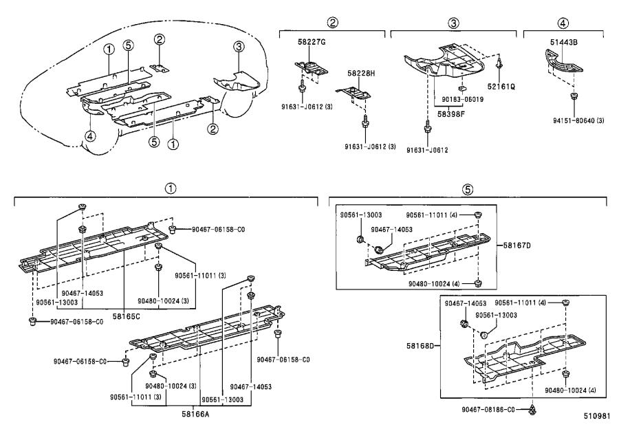 Diagram SUSPENSION CROSSMEMBER & UNDER COVER for your 2003 Toyota Camry