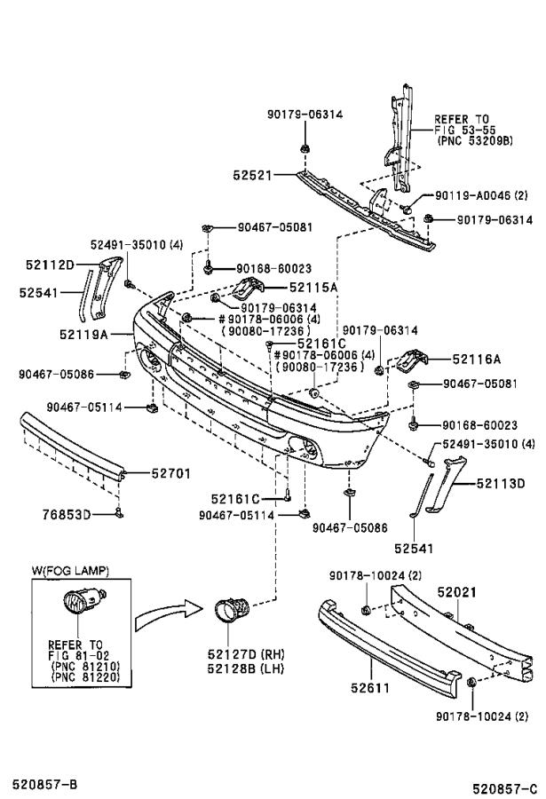 Diagram FRONT BUMPER & BUMPER STAY for your 2003 Toyota Camry