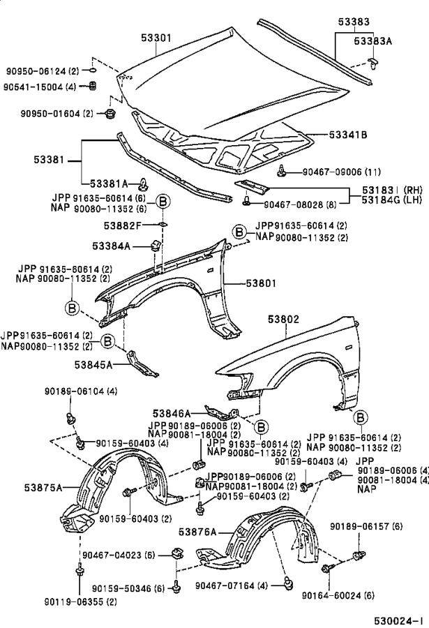 Diagram HOOD & FRONT FENDER for your 1999 Toyota Camry