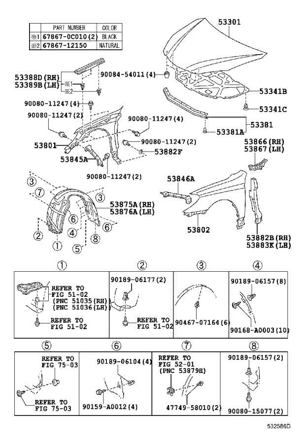 Diagram HOOD & FRONT FENDER for your 2004 Toyota Camry