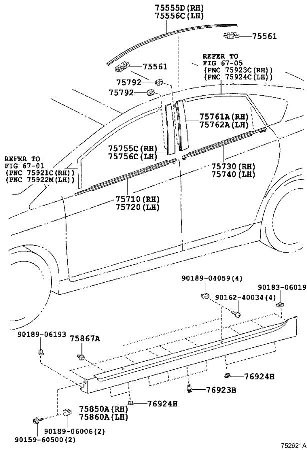 Diagram SIDE MOULDING for your 2003 Toyota Camry