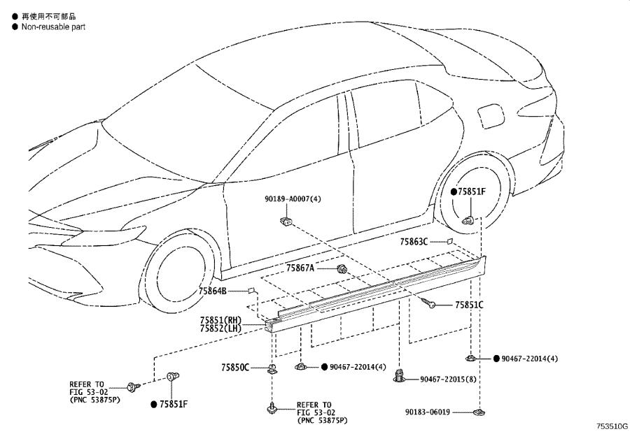Diagram SIDE MOULDING for your 2020 Toyota Camry